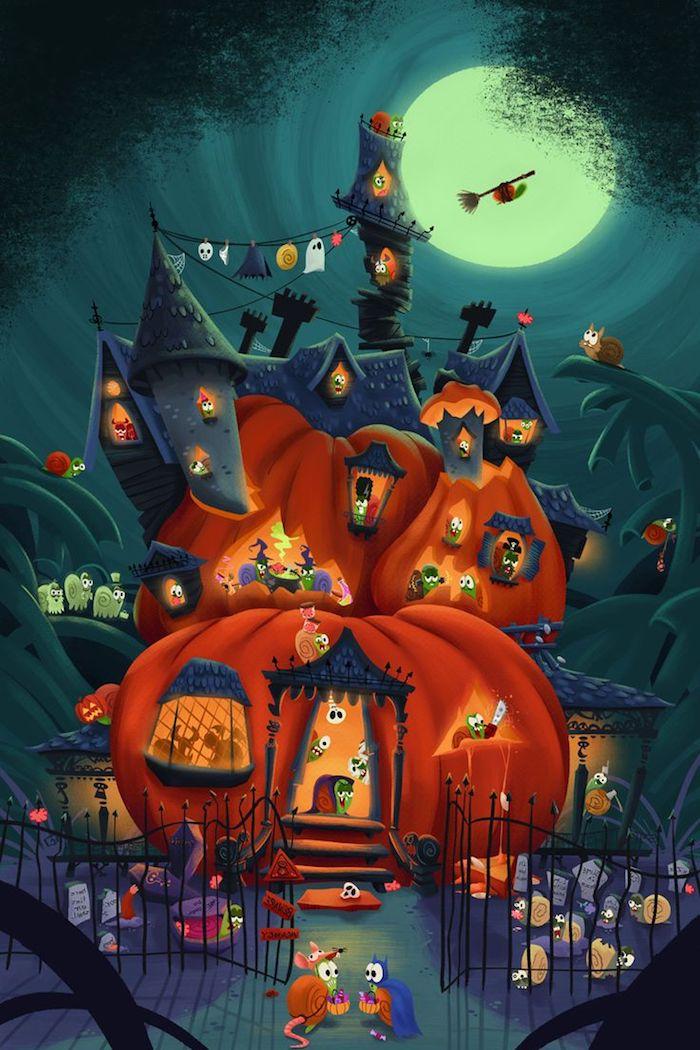 ein Kürbis wo kleine Schnecken wohnen und sich zu Halloween verkleiden - Bilder zu Halloween