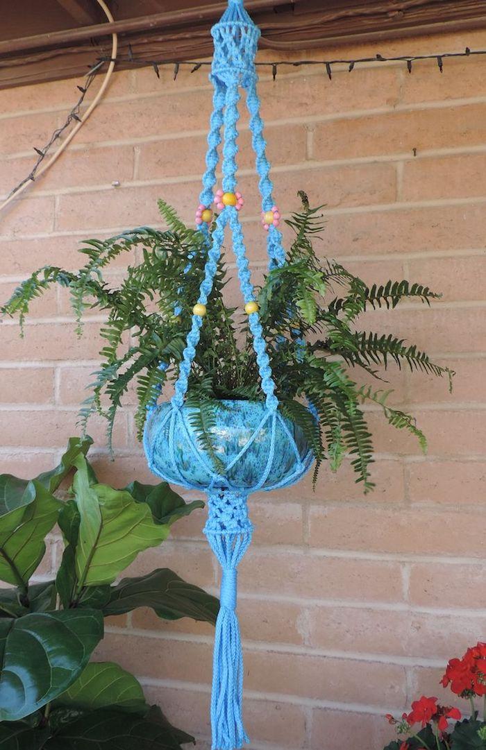 hängeampel selber machen bleu und grün kombinieren schöne deko gestaltung pflanzen