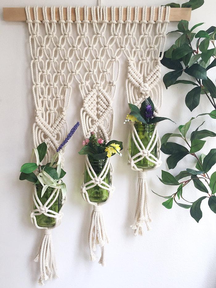 makramee anleitung wie macht man eine makramee für mehrere pflanzen blumendesign