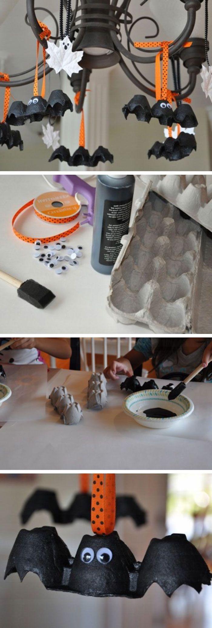wie ein paar lustige Fledermäuse aus Eierkarton zu basteln - Halloween Deko selber machen