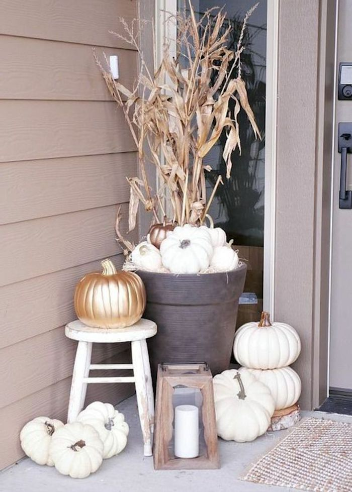 eine trockene Pflanze mit gefärbten Kürbisse verzieren - Basteln für Halloween