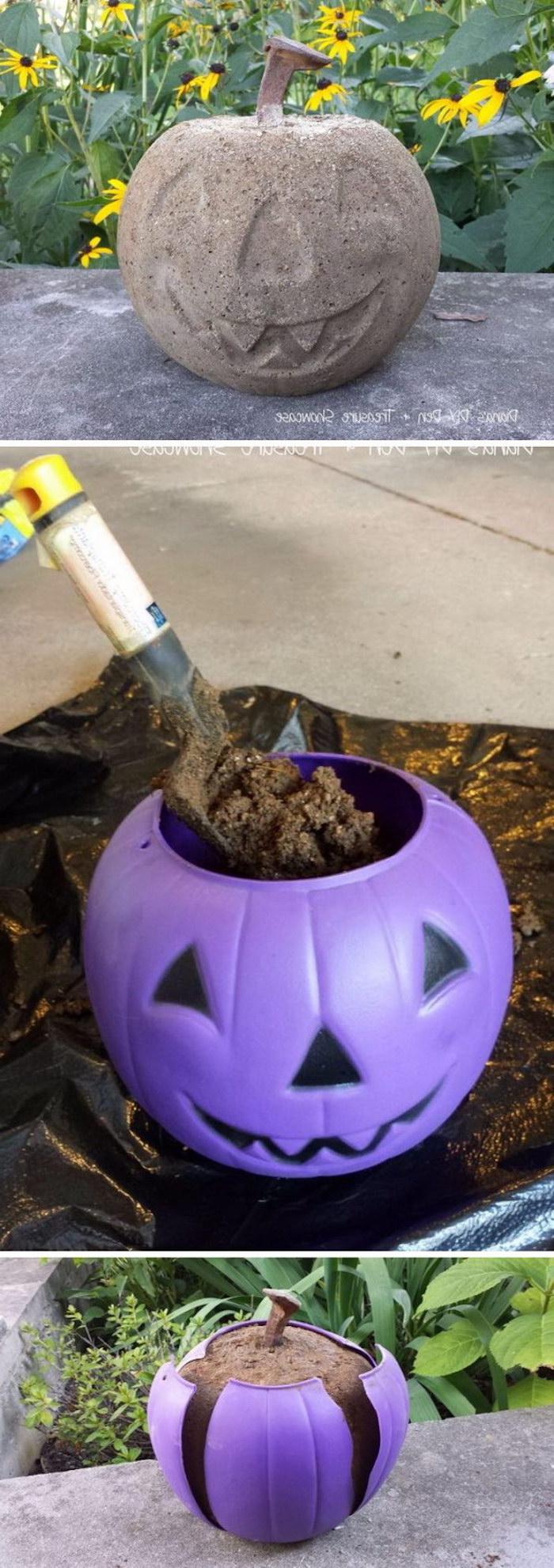 eine Dekoration für den Garten mit Beton basteln Jack O'Lantern Basteln für Halloween