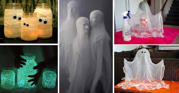 ein Collage von vielen kreative Ideen zum Basteln für Halloween für Gespenster und Mumien