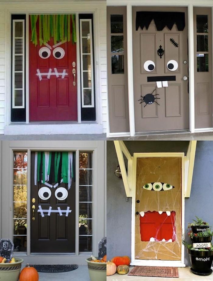 vier kreative Designs, wie die Türen zu Halloween zu dekorieren - Halloween Deko selber machen