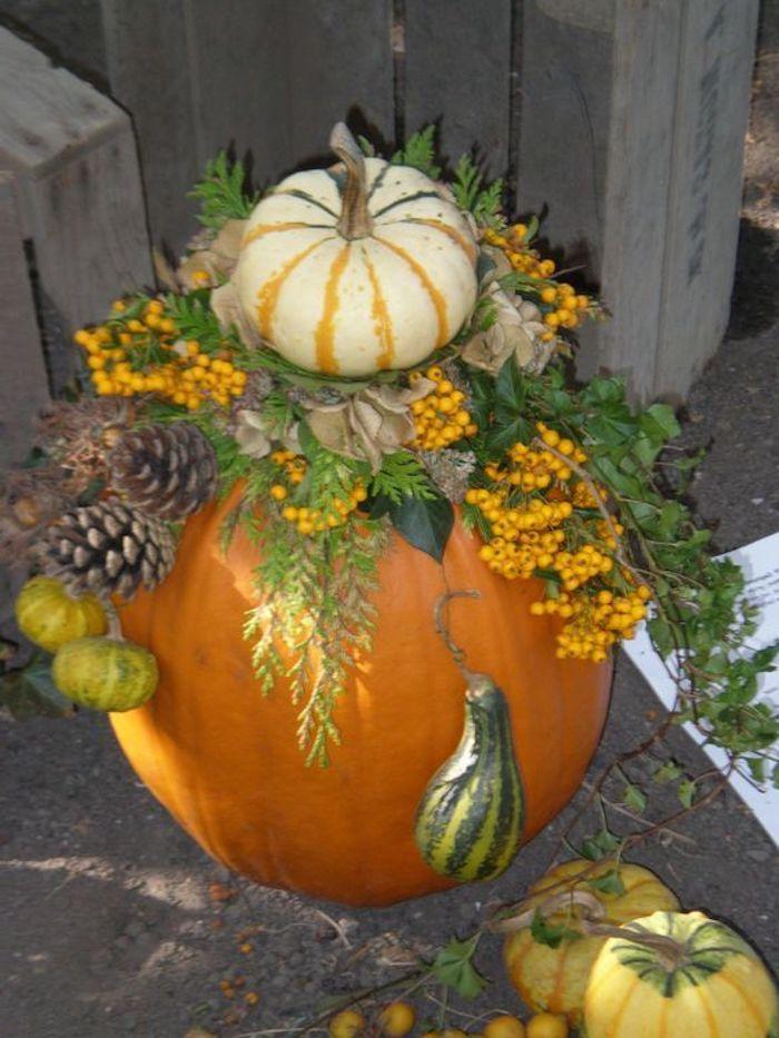 ein Kürbis ganz verziert mit natürliche Elemente aus den Früchten von Herbst - Halloween basteln