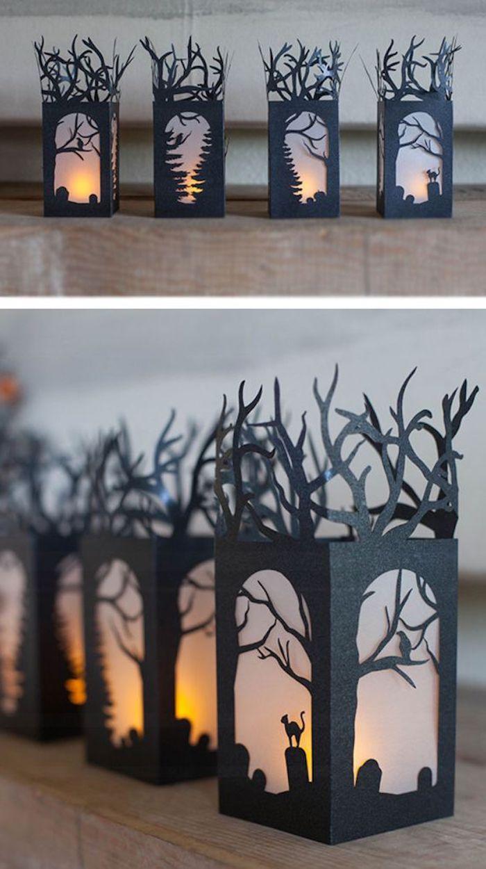vier Laternen mit verschiedenen Halloween Szenen - Halloween basteln