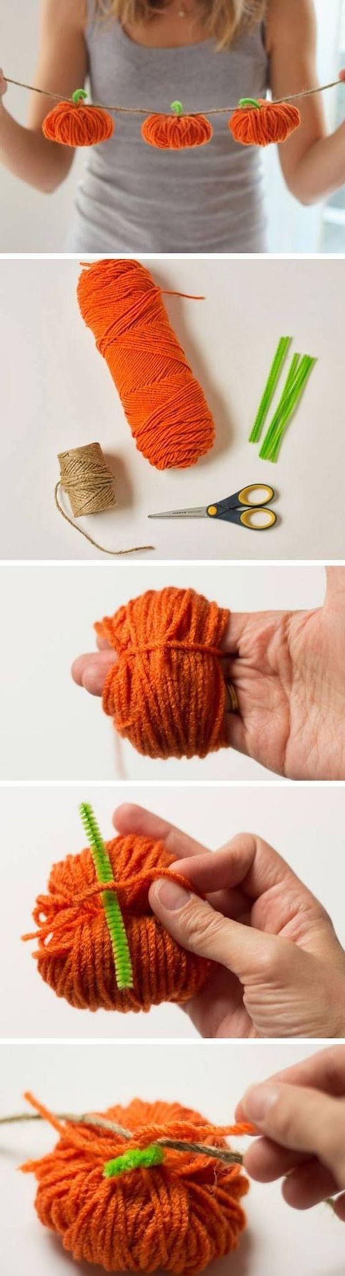 eine Girlande von Kürbissen aus Garn selber machen - Halloween Bastelideen