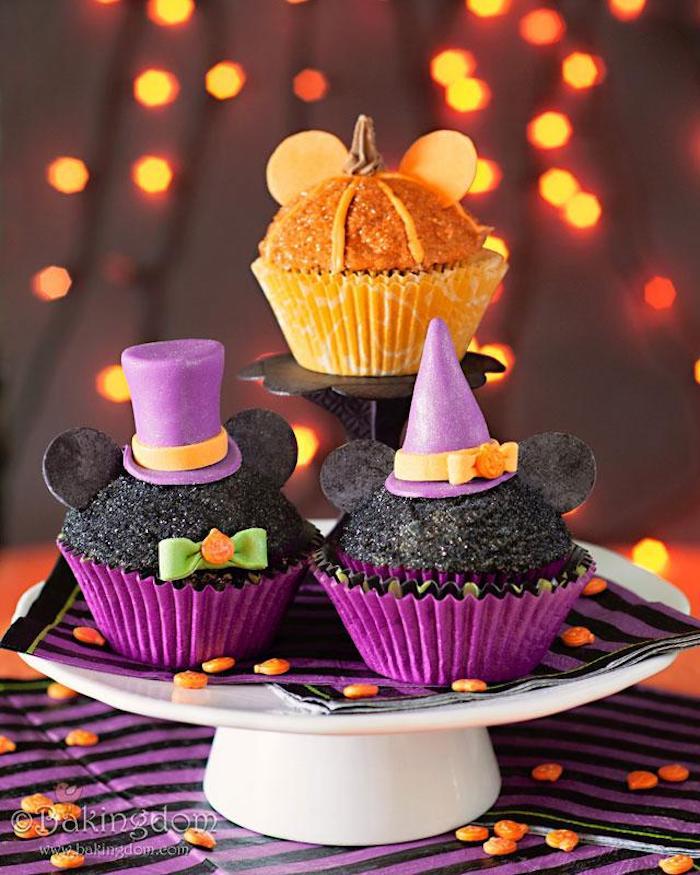 rezepte für halloween, mickey mouse-muffins, cupcakes dekorieren