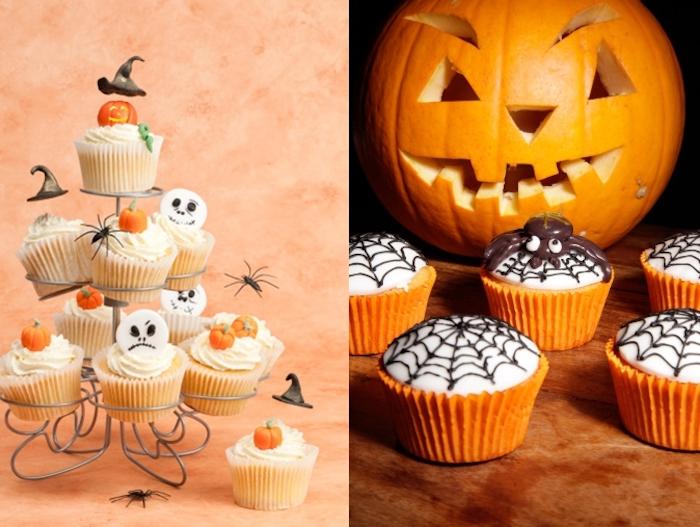 rezepte für halloween, cupcakes mit kürbis dekoriert mit sahne und figuren aus fondant