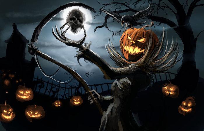 Ein Kürbis Gesicht von dem Tod mit der Hippe des Todes und ein Schädel in der Hand - gruselige Halloween Bilder