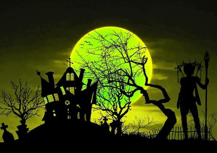 Ein grüner Mond und eine Kirche, eine Hexe und ein Friedhof - Bilder zu Halloween
