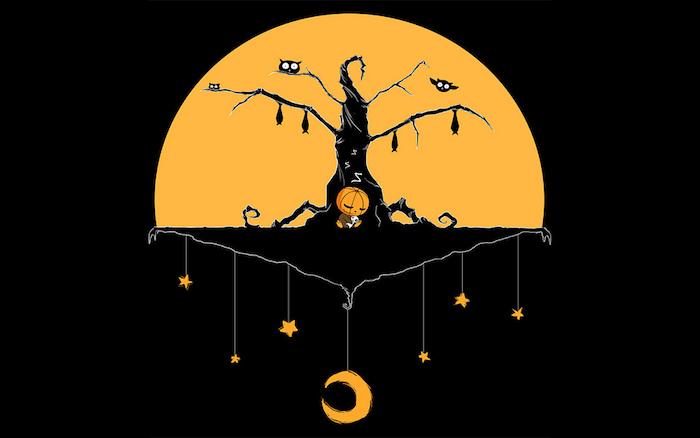 Bilder Halloween Vollmond, Eulen und Fledermäuse, ein kleiner Kürbis mit Spielzeug