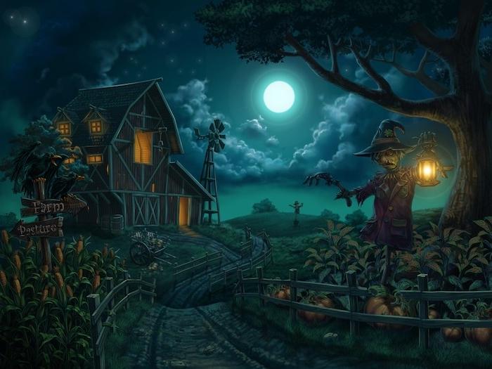 Bilder Halloween - ein Landhaus in der Dunkelheit von einer Strohpuppe bewacht