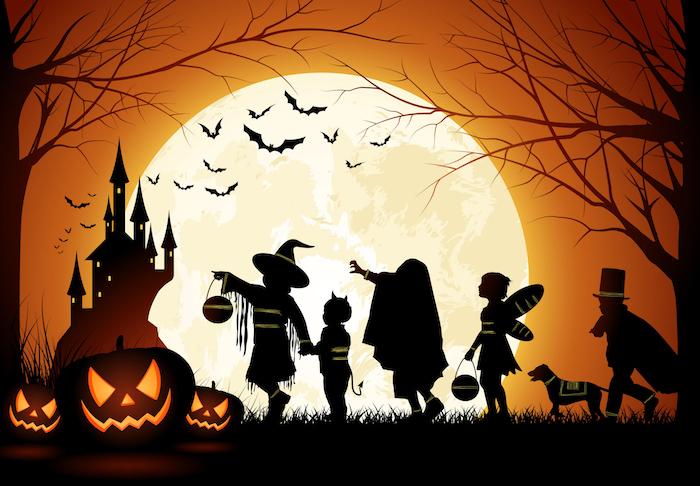Bilder Halloween ein paar Kinder in Halloween Kostüme, Vollmond und Fledermäuser