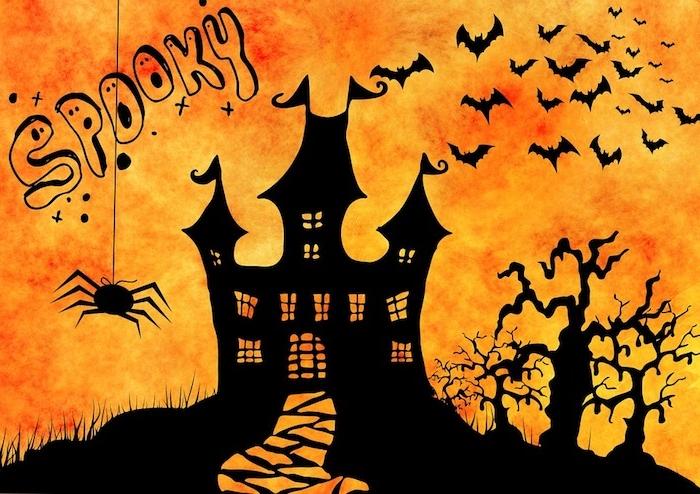 ein Halloween Schloss mit der Aufschrift Spooky und eine Spinne - Bilder Halloween