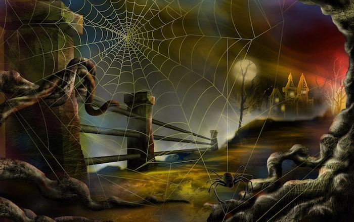 Bilder Halloween eine Spinne und ein Spinnennetz, ein Schloss im Hintergrund