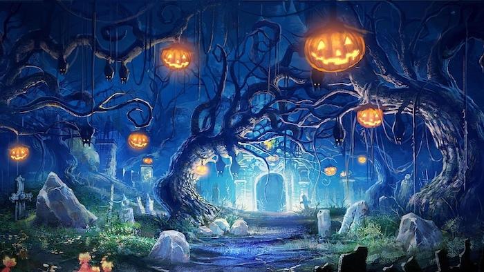 ein Friedhof mit unheimlichem Licht, viele Halloween Kürbisse, die hängen