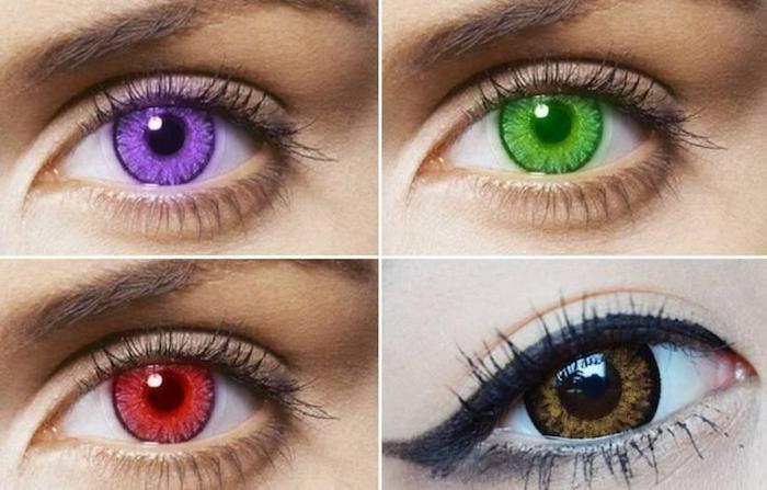 Irislinsen in vier Farben - lila, grün, rot und goldbraun, weiße Gesichtshaut, braunes Teint