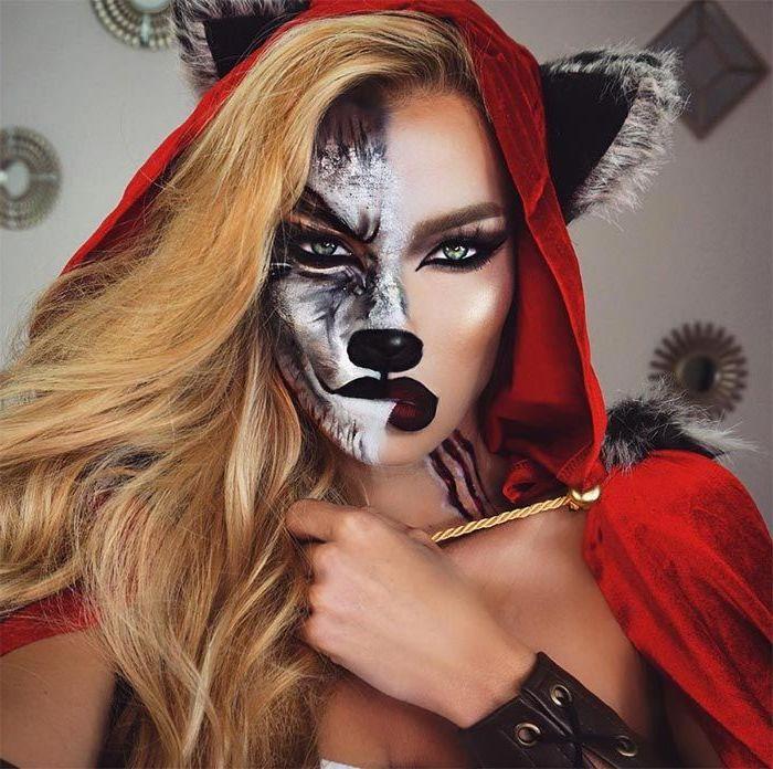 eine Variation von Rotkäppchen und der Wolf - halbes Gesicht wie der Wolf geschminkt, halbes wie Rotkäppchen, Ohren und rotes Kleid