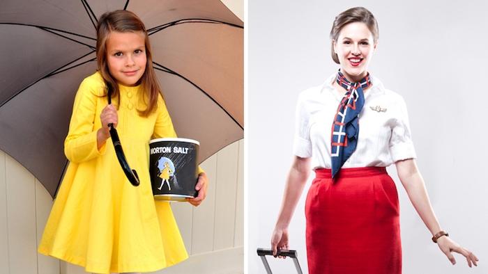 einfache Kostüme eine junge Dame als Stewardess und ein Mädchen mit gelben Kleid