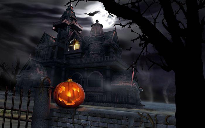 ein gruseliges Schloss und der Vollmond, Halloween Kürbis - Halloween Hintergrund