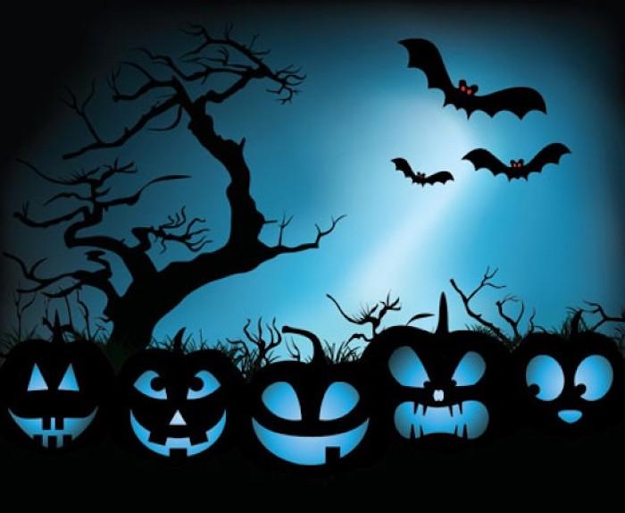 Halloween Hintergrund in blauer Farbe - verschiedene Kürbis Gesichter