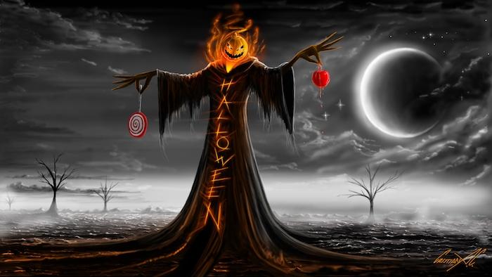 Halloween Hintergrund - ein Kunstwerk mit einer Strohpuppe die verhext ist