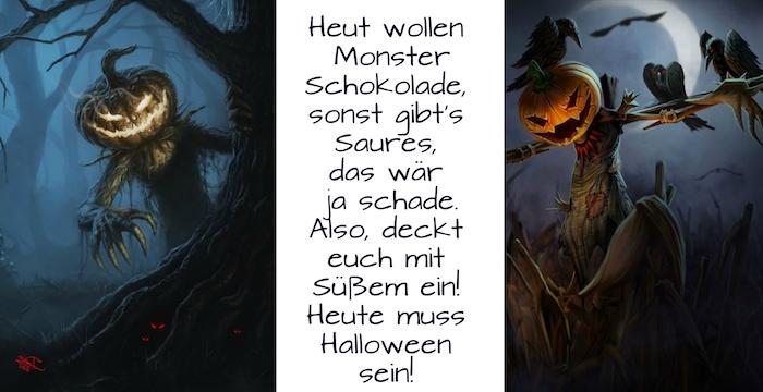 hier finden sie zwei tolle bilder mit halloween monstern mit großen kürbissen und fliegenden schwarzen vögeln und einem vorschlag zum thema halloween spruch