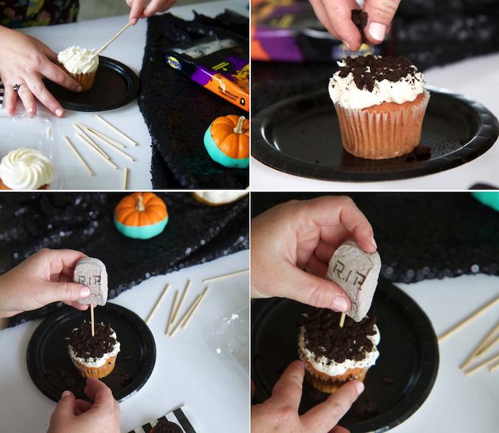 halloween rezepte, cupcakes dekorieren, vanille-muffins mit sahne und keksen