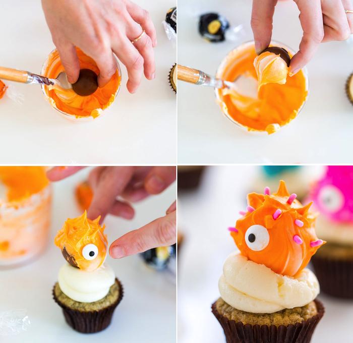 halloween rezepte, monster cupcakes selber machen, orange buttercreme