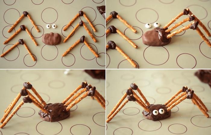 halloween rezepte, spinne aus praline mit beinen aus salzstangen und augen aus shokolade
