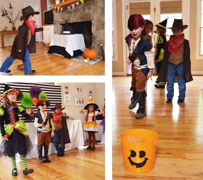 Haus mit lackiertem Laminatboden, Wände in Beige, kleiner Cowboy, kleiner Pirat
