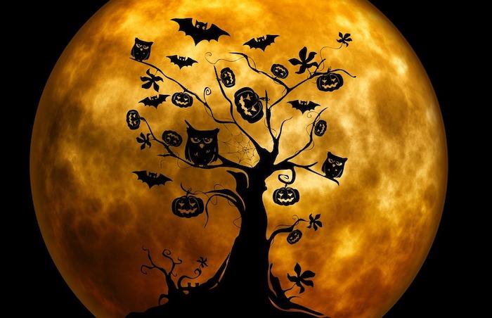 ein Halloween Baum mit Eulen, Kürbisse und Fledermäusen Vollmond im Hintergrund
