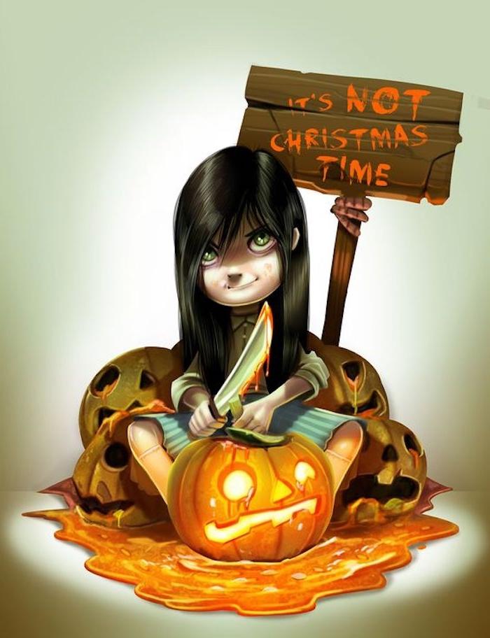 die Kinder bereiten die Kürbisse vor - Halloween lustige Bilder