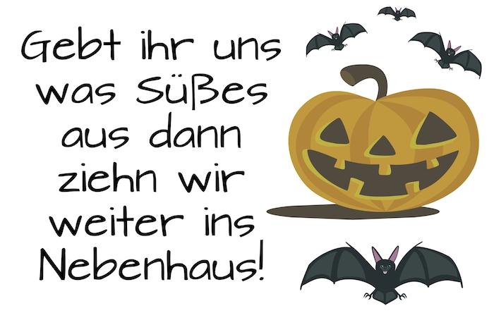 wir empfehlen ihnen, einen blick auf dieses bild zu werfen - denn hier zeigen wir ihnen einen halloween spruch, einen schönen halloween kürbis und kleine fliegende fledermäuse