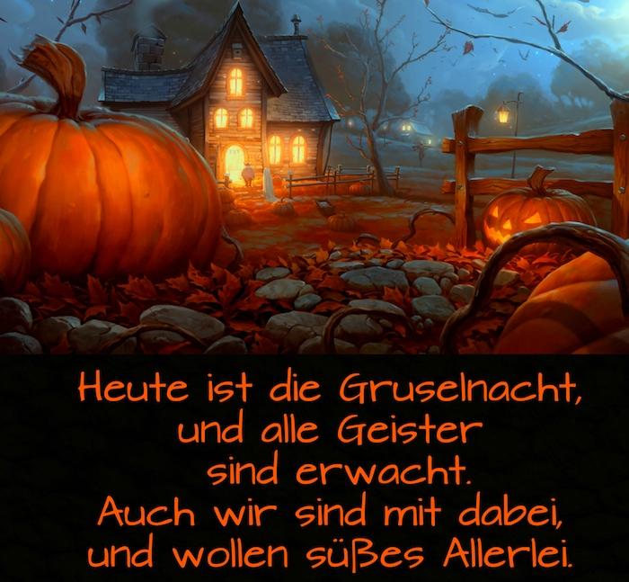 wir zeigen ihnen hier ein bild mit einem halloween spruch, halloween kürbissen und einem haus