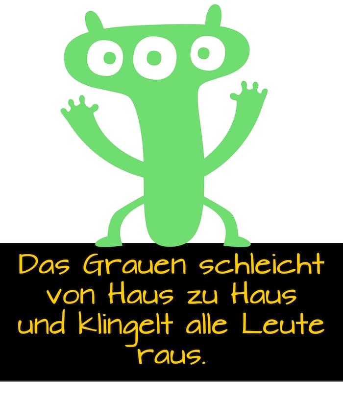 bild mit einem grünen kleinen monster mit drei grünen augen und einem tollen spruch zu halloween