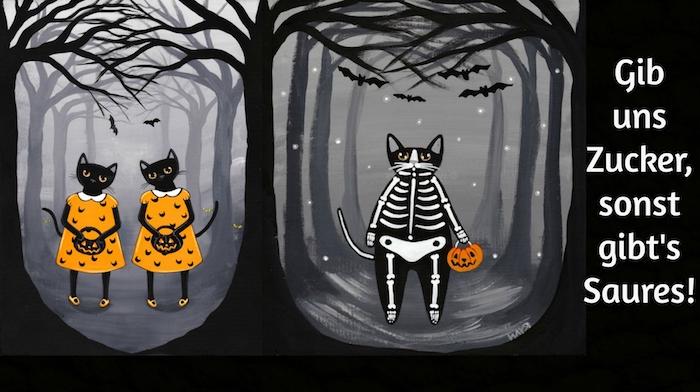 jetzt zeigen wir ihnen drei katzen im wilden schwarzen wald und mit kleinen halloween kürissen - schönes bild mit einer idee zum thema halloweeen sprüche