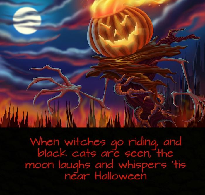 märchenhaftes bild mit einem halloween monster mit einem halloween kürbis und einem spruch zum thema halloween