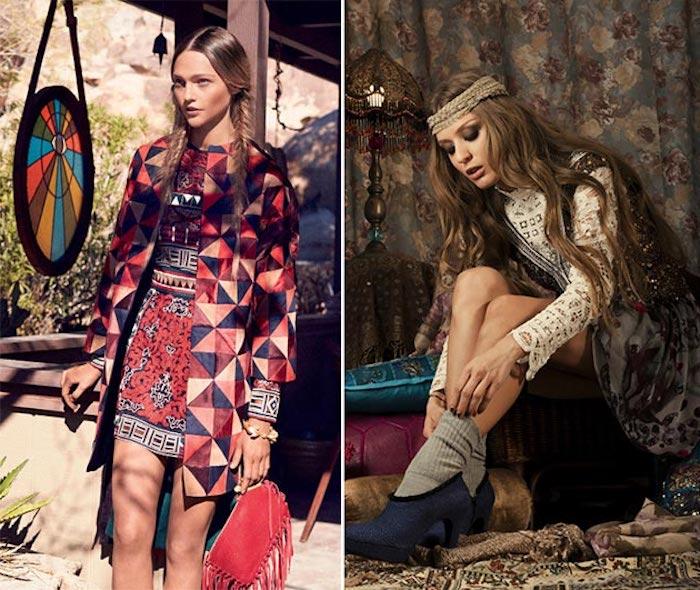 kleider in boho style, mantel mit geometrischen figuren, boho frisuren