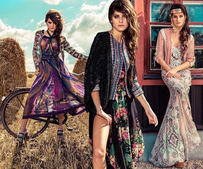 hippie kleid in pastellfarben, schwarzes sommerkleid mit bunten blumen, flechtfrisur