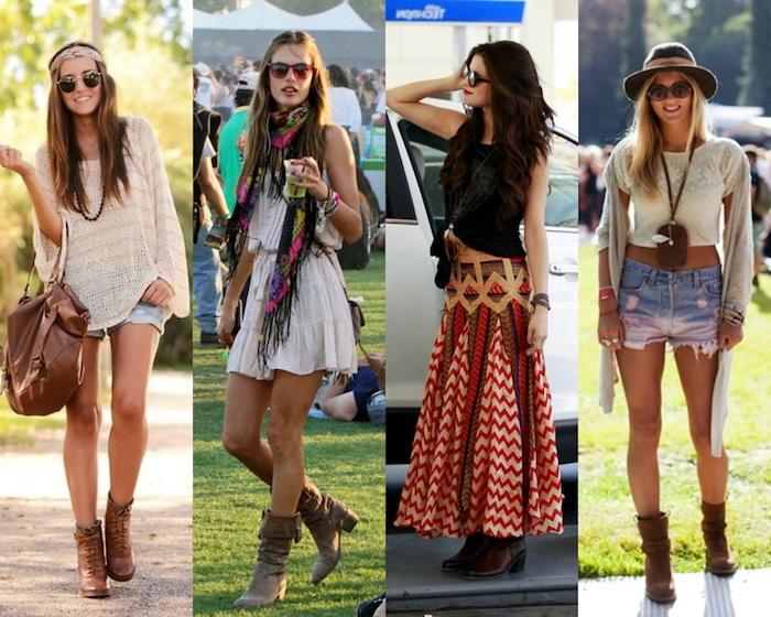 hippie kleider, sommer outfits, jeans kombiniert mit weißer bluse, bunter rock in kombination mit schwarzer bluse