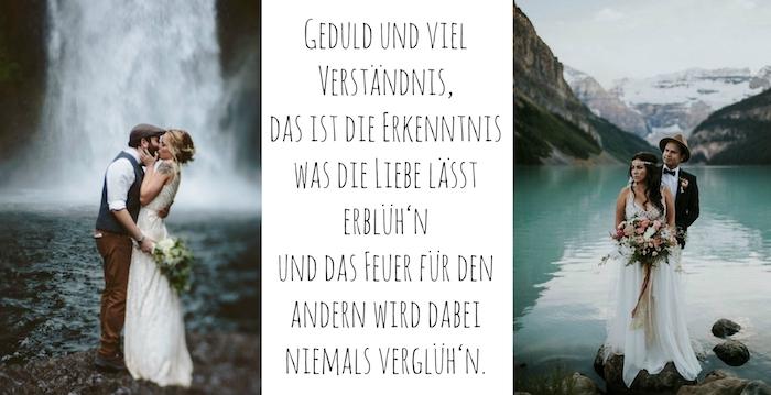 zwei tolle bilder mit wasserfall, see, bergen und liebespaaren und jungen frauen mit weißen brautkleidern - idee zum thema hochzeitssprüche und schöne bilder