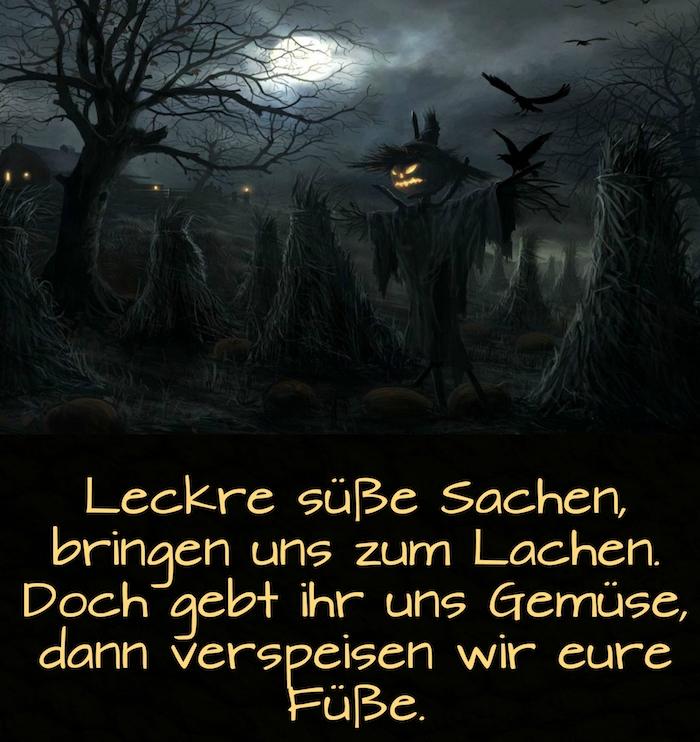 werfen sie einen blick auf dieses bild mit halloween monstern, schwarzen bäumen, einen mond und einem spruch