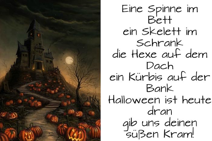 hier finden sie ein schwaarzes großes schloss, einen mond, schwarze bäume, viele halloween kürbisse und einen kurzen halloween spruch