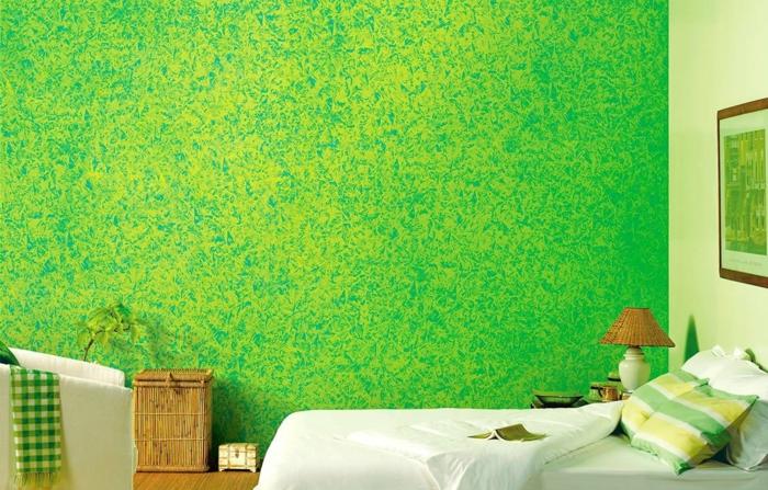 Kreative Wandgestaltung, Wickeltechnik, Schlafzimmer, grün, Wände streichen, Ideen und Anleitungen