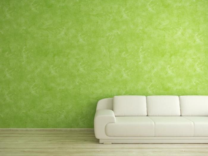 Kreative Wandgestaltung, Wischtechnik, Wohnzimmer, grün, Wände streichen