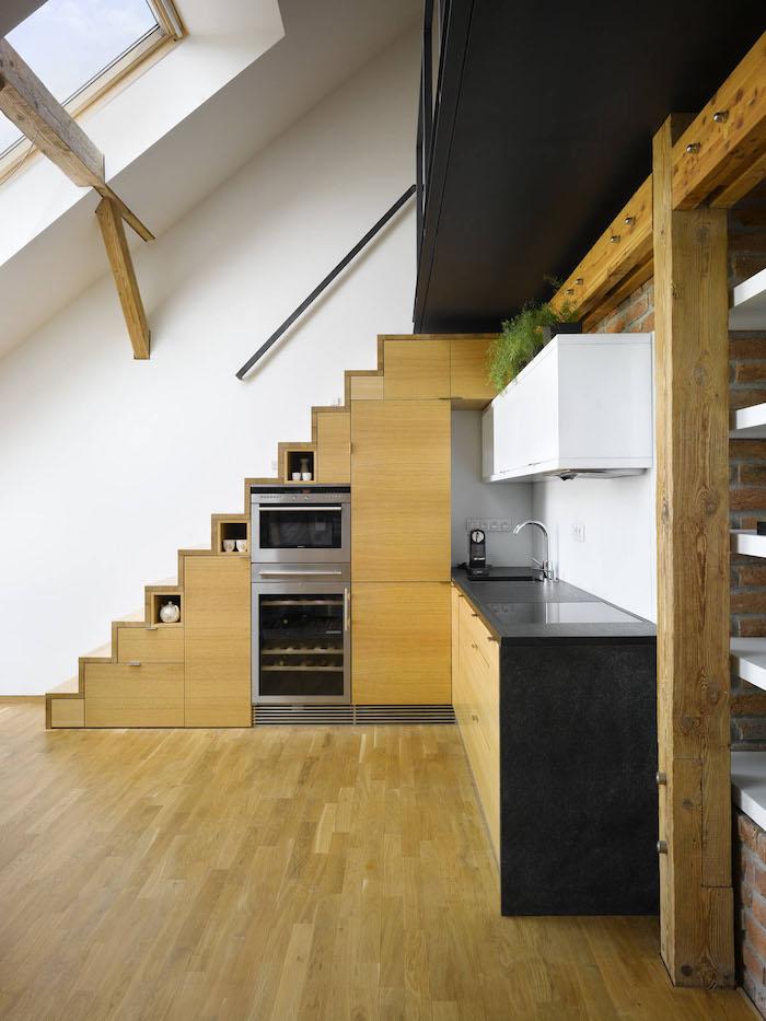 wohnung einrichten ideen küche gestaltungsideen treppe einmaliges design praktisch