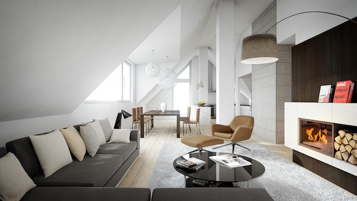 dachschrägen gestalten schöne ideen sofa sessel esstisch kaminofen gestaltung buch