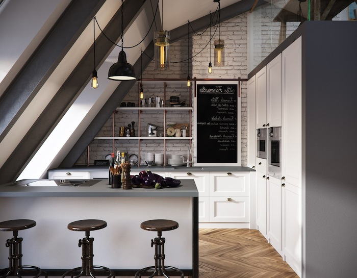 wohnung einrichten graue möbel weißes design schrank küche stühle lampen schwarze tafel